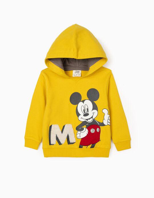 Hooded Sweatshirt for Baby Boys 'Mickey', Yellow