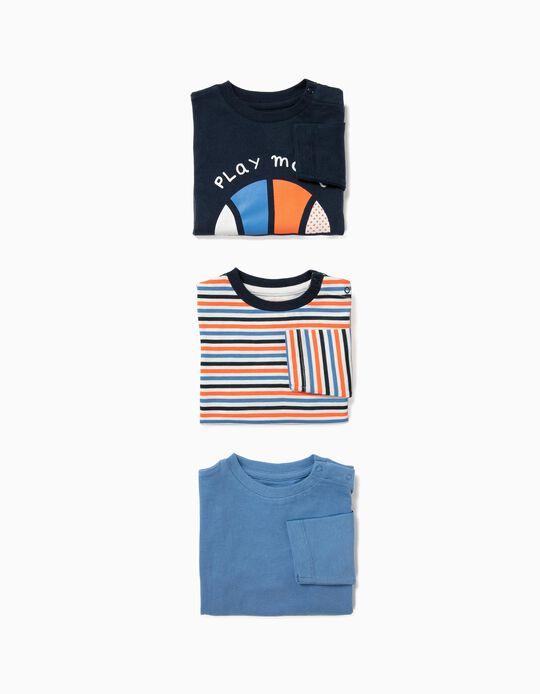3 Camisetas de Manga Larga para Bebé Niño 'Sports', Multicolor