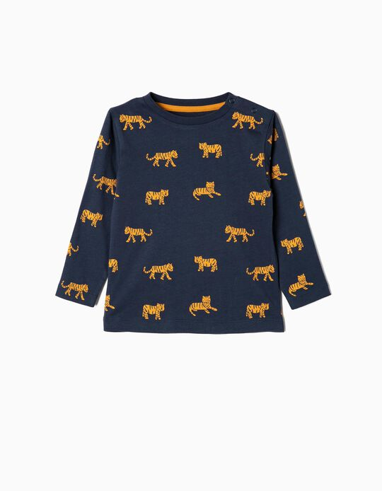 Long-sleeve Top for Baby Boys 'Tigers', Dark Blue
