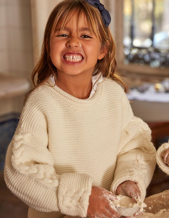 Jumper for Girls and Babies 'You & Me - ZY x Carolina Patrocínio', White