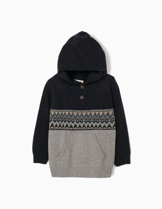 Camisola Lã com Capuz para Menino, Azul/Cinza