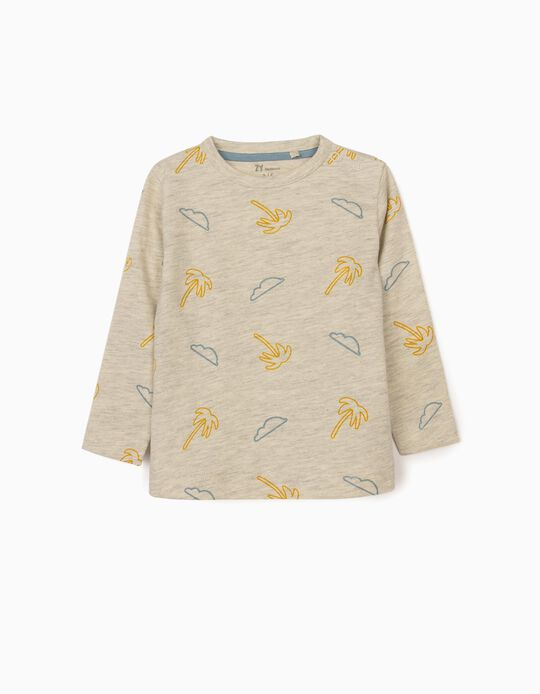 Long Sleeve Top with Print, for Newborn Baby Boys, Grey