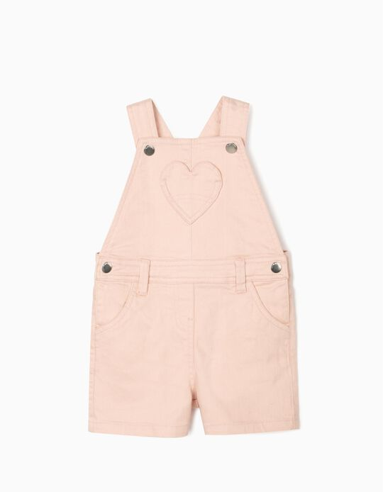 Short Dungarees for Baby Girls, 'Heart', Light Pink