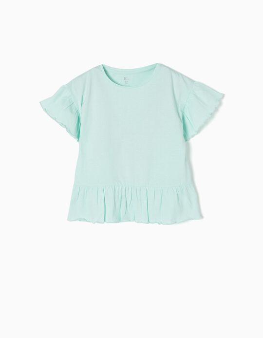 T-shirt Folhos Azul