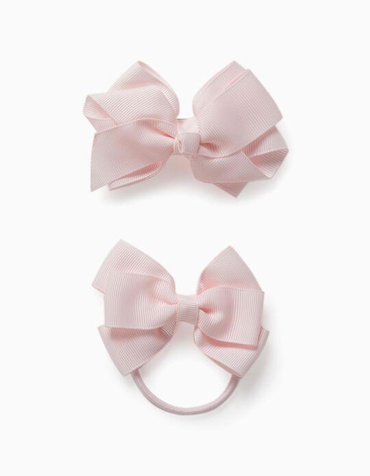Hair Slide + Bobble for Girls, 'Bows', Pink
