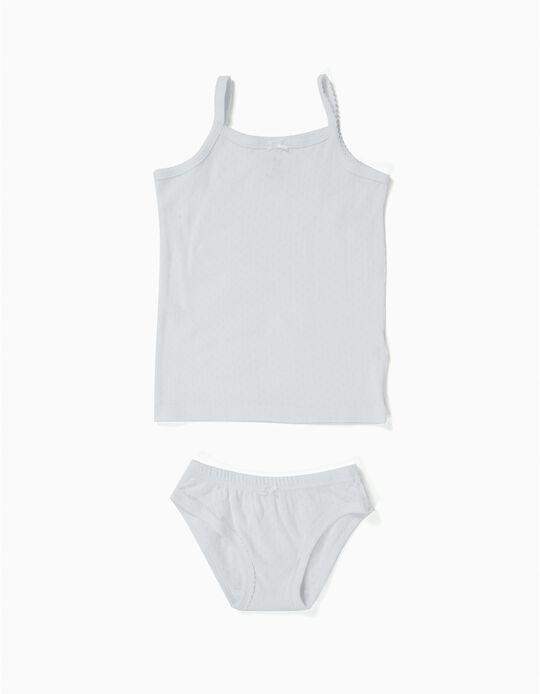 Textured Top and Briefs Set for Girls, White