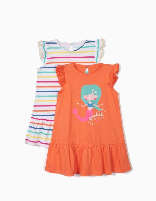 2 Vestidos para Bebé Niña 'Mermaid', Coral y Blanco