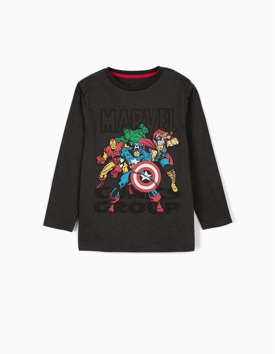 Camiseta de Manga Larga para Niño 'Los Vengadores', Gris Oscuro