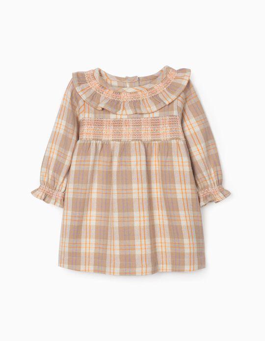 Plaid Dress for Newborn Baby Girls, Beige