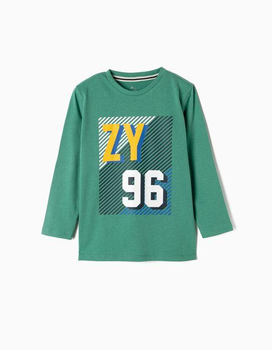 T-shirt Manga Comprida para Menino 'ZY 96', Verde