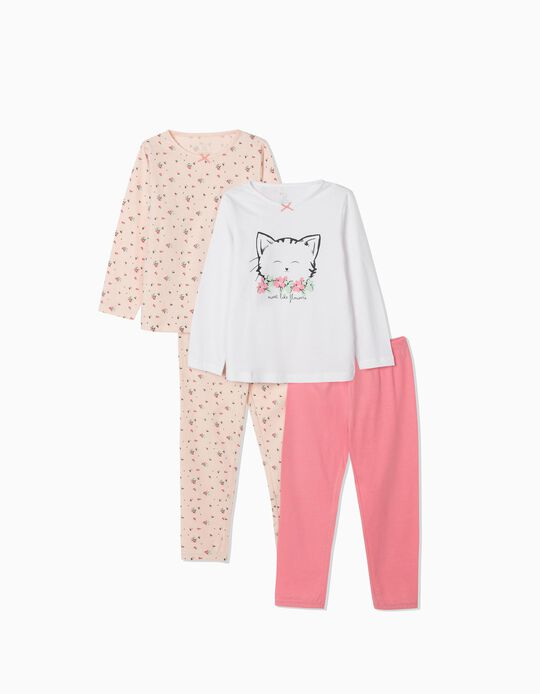 2 Long Sleeve Pyjamas for Girls, 'Cute Cat', White/Pink