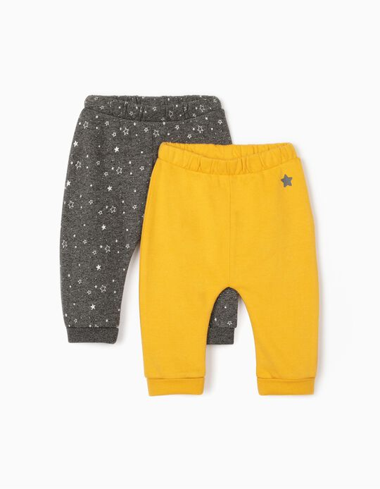 2 Pairs of Joggers for Newborn Baby Boys, 'Stars', Marl Grey/Yellow