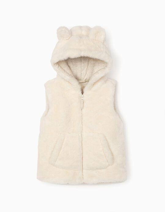 Fur Waistcoat for Baby Girls, White