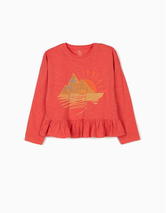 Long Sleeve Top with Ruffle for Girls, Coral