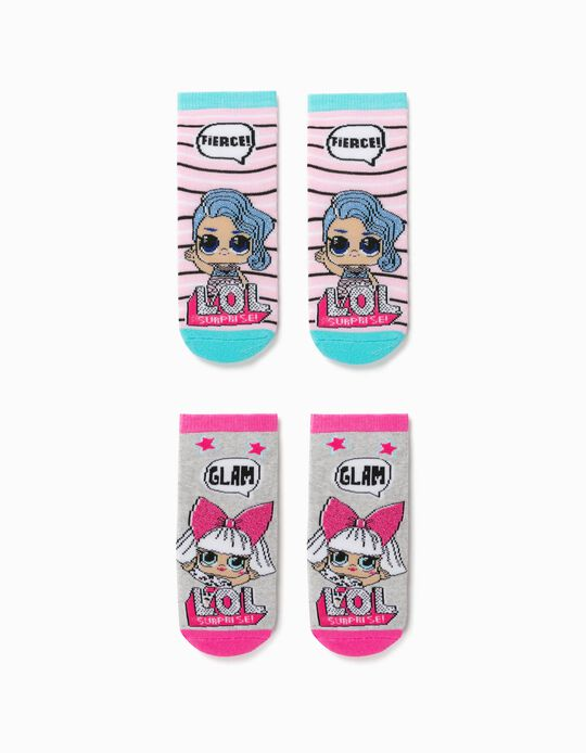 2 Pairs of Non-slip Socks for Girls, 'LOL Surprise', Pink/Grey