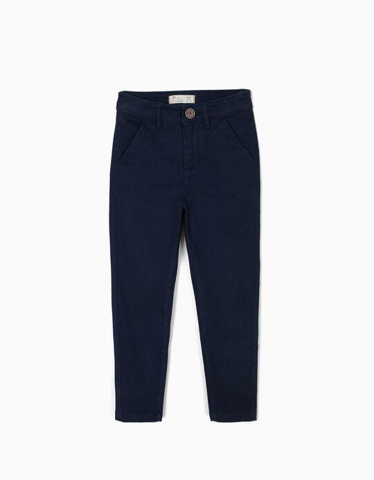 Pantalón de Sarga para Niño, Azul Osuro