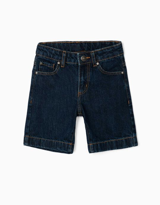 Short en jean garçon, bleu foncé