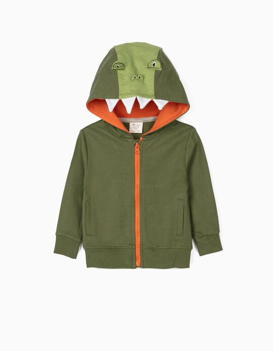 Hooded Jacket for Baby Boys, 'Croc', Green