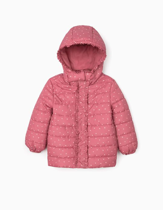 Padded Jacket for Girls 'Heart', Pink
