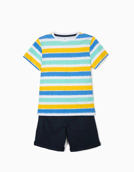 Camiseta y Short para Niño a 'Rayas', Blanco y Azul Oscuro