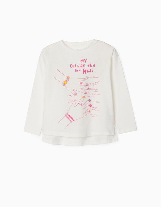 T-shirt Manga Comprida para Menina 'Fashion Nails', Branco