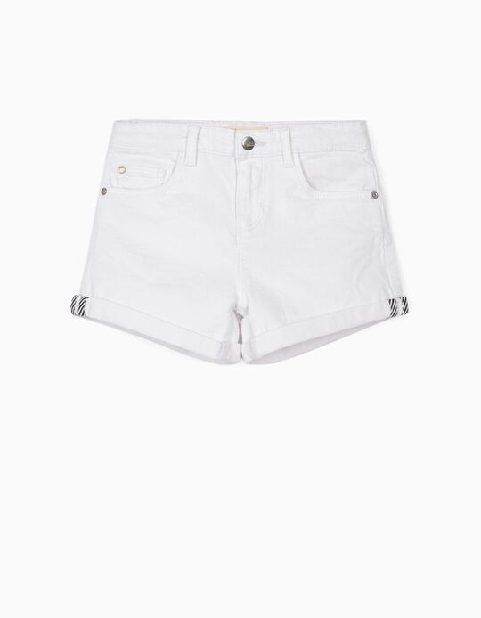 Twill Shorts for Girls 'Cosmic World', White