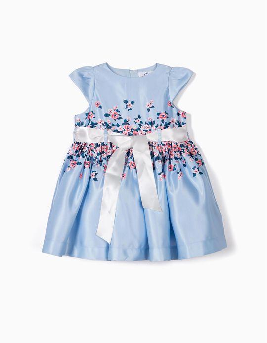 Vestido Satinado para Bebé Niña de 'Flores', Azul