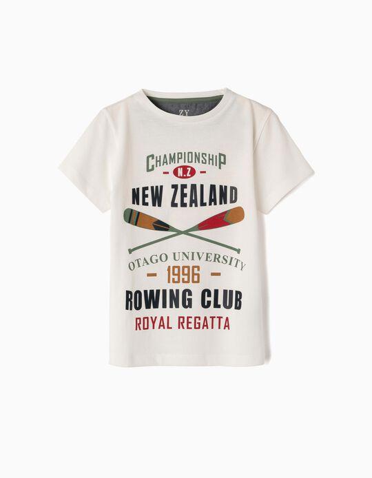 T-shirt para Menino 'New Zealand', Branco