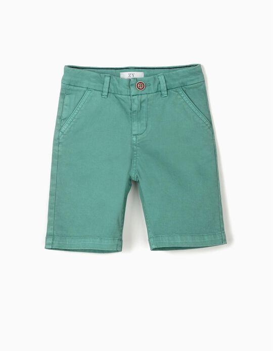 Short chino garçon, vert