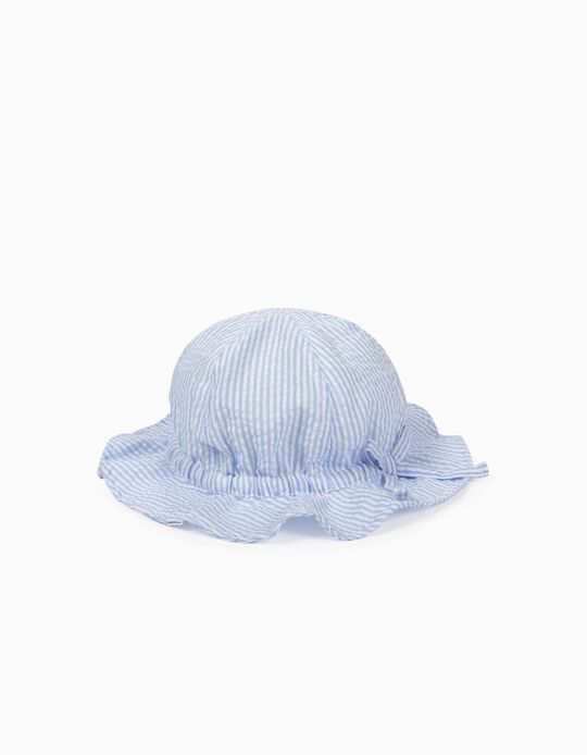 Striped Hat for Girls, Blue and White