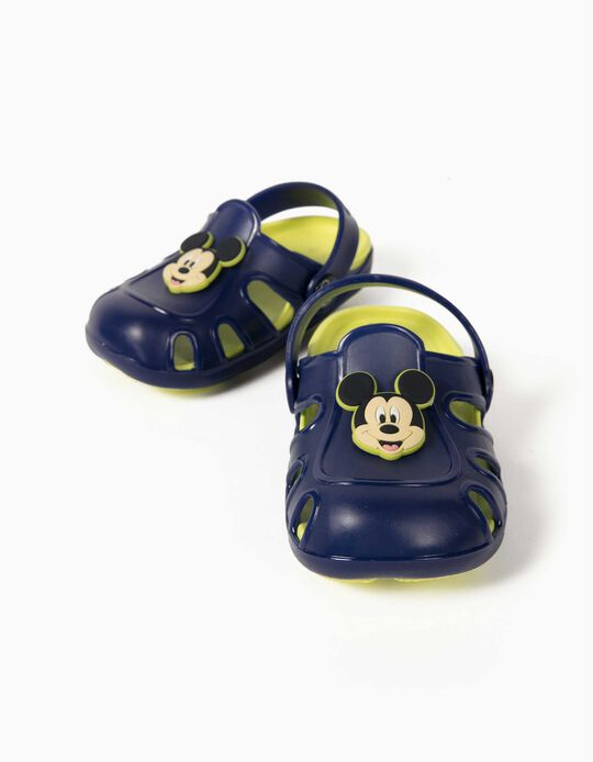 Clog Sandals for Baby Boys, 'Mickey Mouse', Blue/Lime Yellow