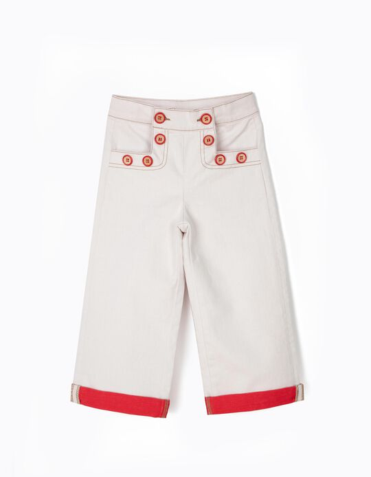Wide Trousers for Girls, White