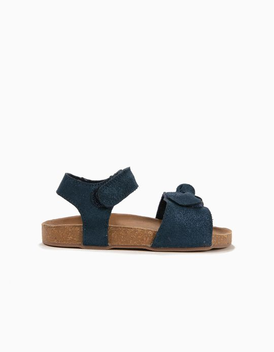 Suede Sandals with Bow for Girls, Dark Blue