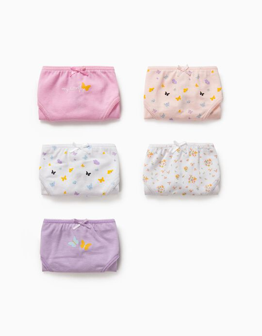 5 culottes fille 'Butterflies', multicolore