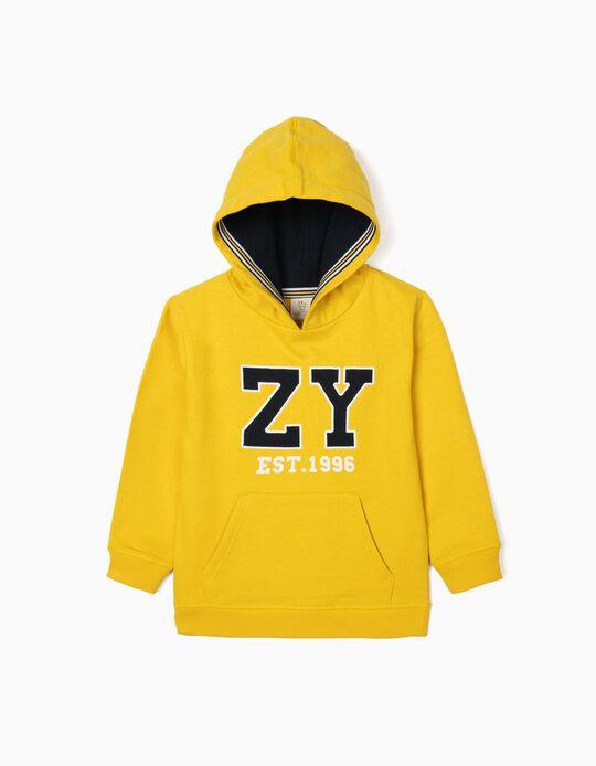 Sweatshirt com Capuz para Menino 'ZY 1996', Amarelo