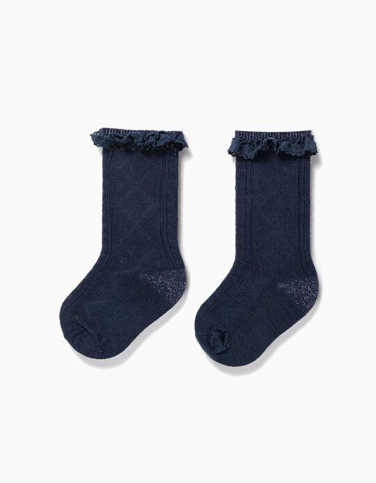 Textured Knee High Socks for Baby Girls, Dark Blue