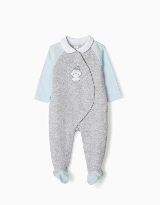 Babygrow para Recém-Nascido 'Little Penguin', Cinza/Azul