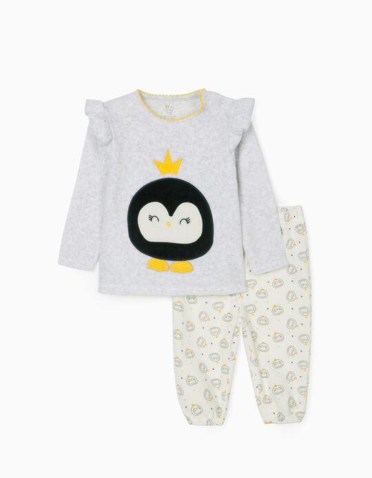 Velvet Pyjamas for Baby Girls 'Queen', White/Yellow