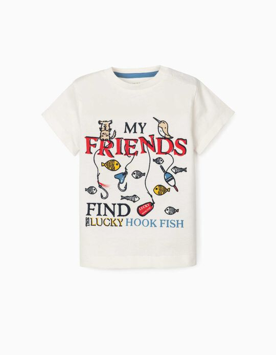 T-shirt for Baby Boys, 'Lucky Hook Fish', White
