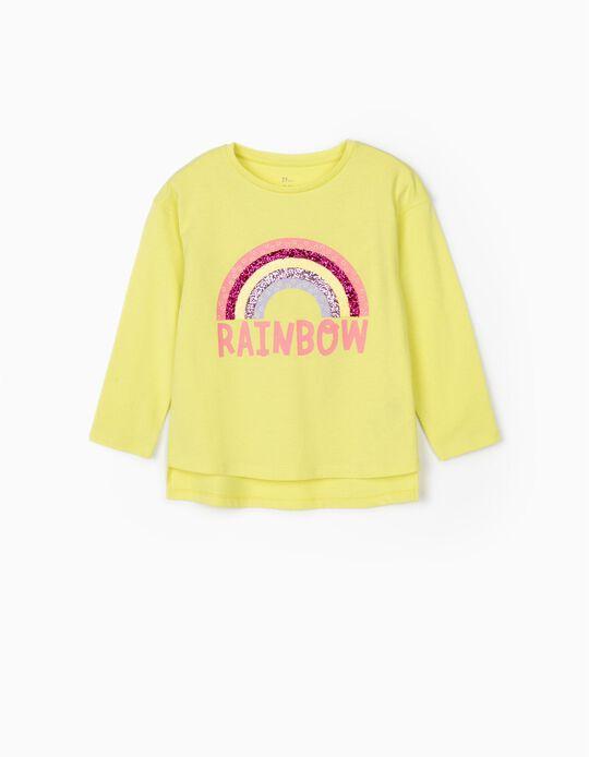Camiseta de Manga Larga para Niña 'Rainbow', Amarillo Lima