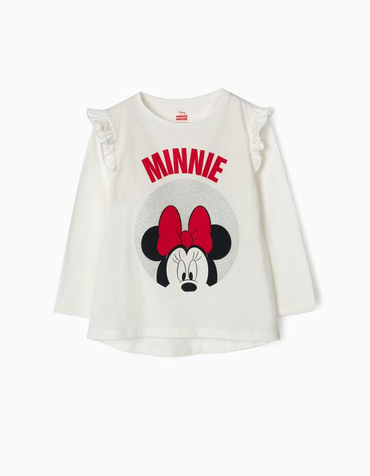 Long-sleeve Top for Girls 'Minnie', White
