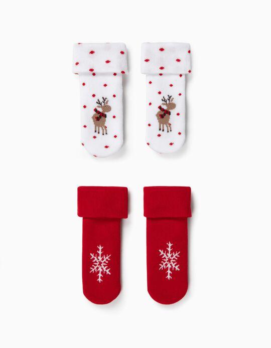 2 Pares de Calcetines Antideslizantes para Bebé 'Reindeer', Blanco/Rojo