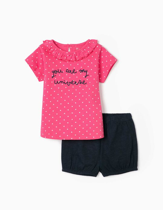 T-shirt and Shorts for Baby Girls, 'My Universe', Pink/Blue