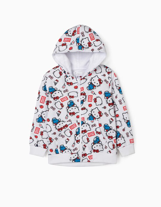 Hooded Jacket for Girls, 'Hello Kitty', White
