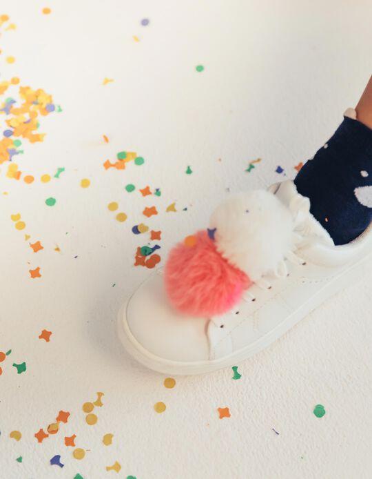 Zapatillas para Niña ZY con Pompones, Blancas