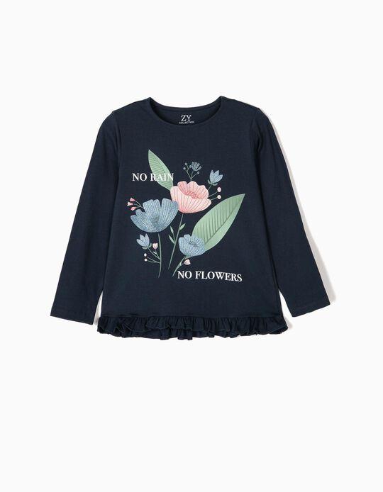 T-shirt Manga Comprida para Menina 'No Rain', Azul Escuro