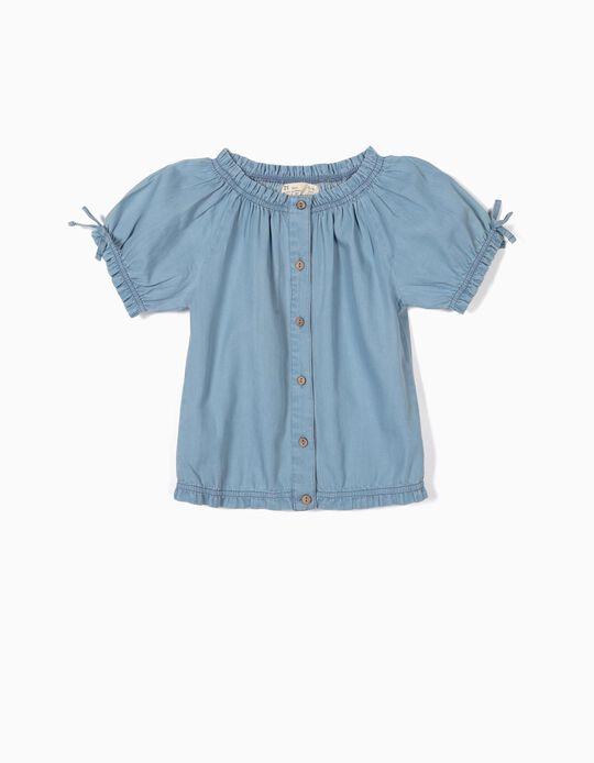 Blusa Denim para Menina Folhos, Azul