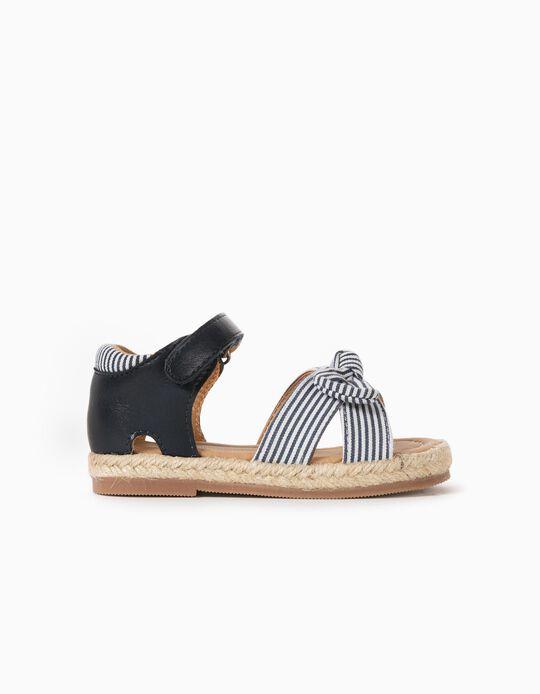 Sandales bimatières bébé fille, bleu foncé/blanc