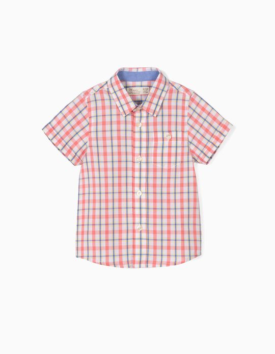 Camisa para Bebé Niño a Cuadros, Coral