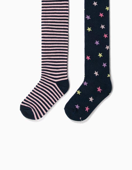 2 Collants maille fille 'Stars & Stripes', bleu foncé